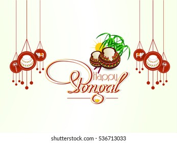 creative illustration for Pongal Celebration Background.
