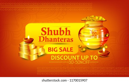 Creative illustration, poster or banner with goddess maa laxmi of dhanteras , decorated pot filled with gold coins  celebration background. Happy dhanteras