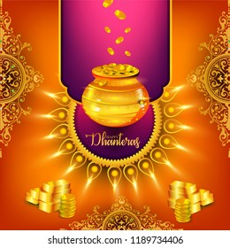 Creative illustration poster or banner with goddess maa laxmi of dhanteras, decorated pot filled with gold coins celebration Happy dhanteras