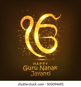 Creative illustration poster or banner of Guru Nanak Jayanti celebration.