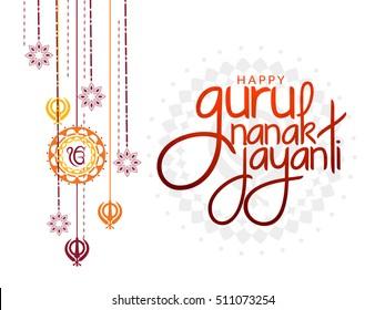 Creative illustration poster or banner of Guru Nanak Jayanti celebration.