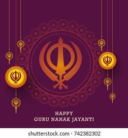 Creative illustration, poster or banner of Guru Nanak Jayanti celebration.