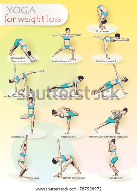 Creative Illustration Poster Yoga Exercises Complex Stock Vector Royalty Free 787558972