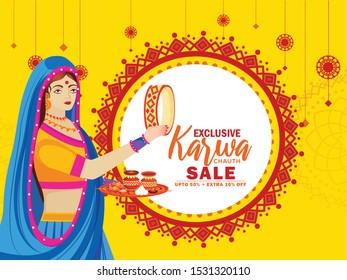 Creative illustration sale poster or sale banner of indian festival of karwa chauth celebration.