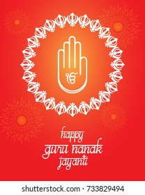 creative illustration for sikh religious festival guru nanak jayanti. Can be used for banner, backgrounds, greetings, posters and advertisements. (Meaning: Birth anniversary of saint guru nanak)