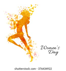 Creative illustration of a young girl with abstract design for Happy Women's Day celebration.