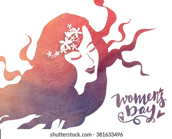 Creative illustration of a young girl face with long hairs for Happy Women's Day celebration.