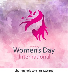 Creative illustration of a young girl face on colorful background for Happy Women's Day celebration.