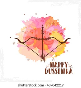 Creative illustration,banner or poster of dussehra with ten headed Ravana.