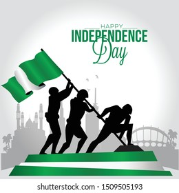 Creative illustration,banner or poster of nigeria independence day celebration.