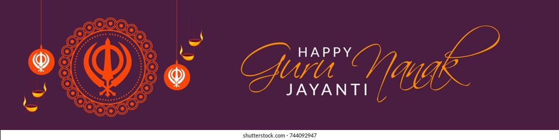 Creative illustration,Header or banner of Guru Nanak Jayanti celebration.