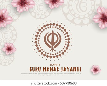 Creative illustration,poster or banner of Guru Nanak Jayanti celebration.