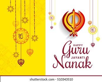 Creative illustration,poster or banner of Guru Nanak Jayanti celebration.