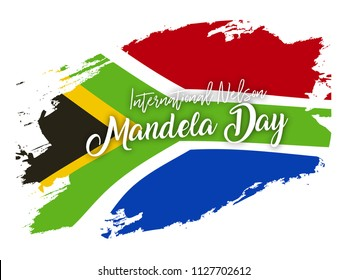 Creative illustration,poster or banner of happy Nelson Mandela day with flag background.