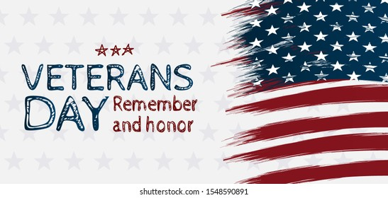 Creative illustration,poster or banner of happy veterans day with u.s.a flag background. Handrawing style