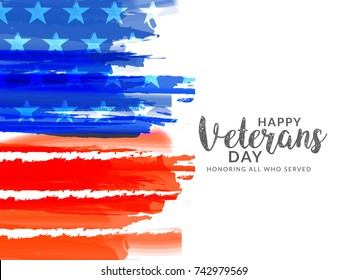 Creative illustration,poster or banner of happy veterans day with u.s.a flag background.