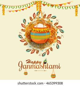 Creative illustration,poster or banner for indian festival of janmashtami celebration.