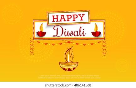 Creative illustration,poster or banner of indian festival for diwali celebration.