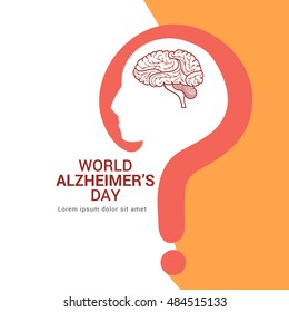 Creative illustration,poster or banner of World Alzheimer's day.