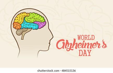 Creative illustration,poster or banner of World Alzheimer's day.