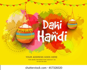 Creative illustration,poster or flyer for indian festival of janmashtami celebration.
