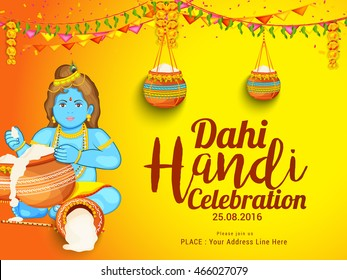 Creative illustration,poster or flyer for indian festival of janmashtami dahi handi celebration.
