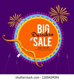 Creative illustration,sale banner or sale poster for Dussehra celebration.