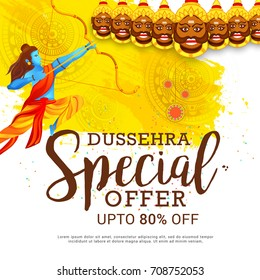 Creative illustration,sale banner or sale poster for Dussehra celebration with ten headed Ravana.