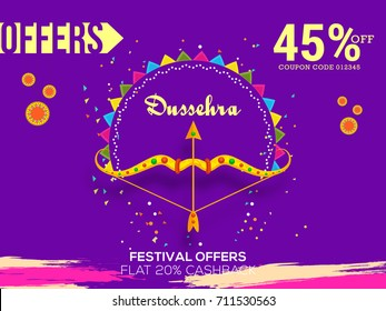 Creative illustration,sale banner or sale poster for Dussehra celebration.