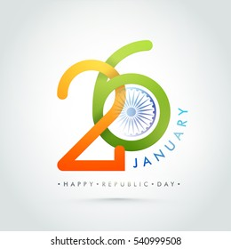 Creative Indian Flag Colors Text 26 January with Ashoka Wheel. Happy Republic Day celebration Poster, Banner or Flyer design.