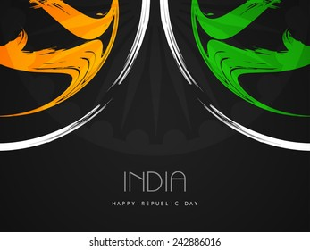 Creative Indian flag theme design on black color background.