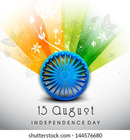 Creative Indian Independence Day background with Ashoka Wheel on national flag tricolors background.