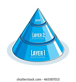 Creative info graphics element, 3d layered pyramid idea, vector illustration.