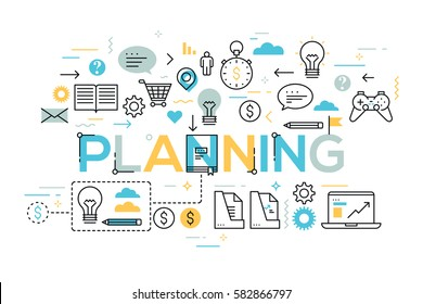 Creative infographic banner with elements in thin line style. Daily scheduling, effective planning, task timing and management concept. Vector illustration for presentation, header, website, brochure.