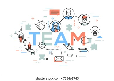 Creative infographic banner with elements in thin line style. Concept of teamwork, business networking, international cooperation, work in multinational team. Vector illustration for website, poster.