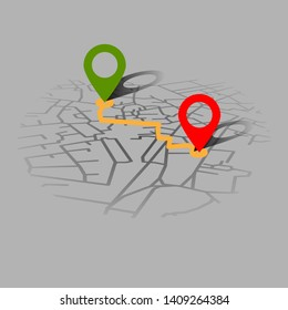 Creative infographic city map navigation for your dashboard concept design. Perspective and day time view. Vector illustration.
