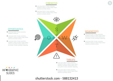 Creative infographic design layout, 4 triangular arrows with letters, icons and text boxes. SWOT-analysis visualization, company's strengths, weaknesses, threats, opportunities. Vector illustration.