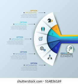 Creative infographic design layout: 5 connected sectoral lettered elements and text boxes. Fan chart. Features of business project, steps to success concept. Vector illustration for presentation.