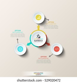 Creative infographic design layout: circular diagram with main central element and arrows pointed at 3 circles with pictograms. Software development and program coding options. Vector illustration.