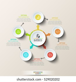 Creative infographic design template: circular diagram with central circle and arrows pointed at 5 round elements. Five steps of front end development and program code testing. Vector illustration.