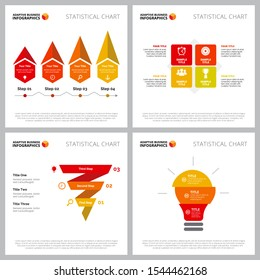 Creative infographic set for new idea, startup, strategy concept. Can be used for business project, marketing report, web design, workflow layout. Process, step chart, option, funnel, lightbulb