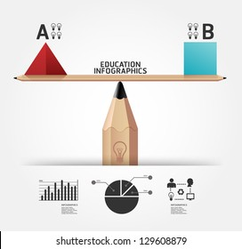 Creative infographics education pencil concept vector illustration