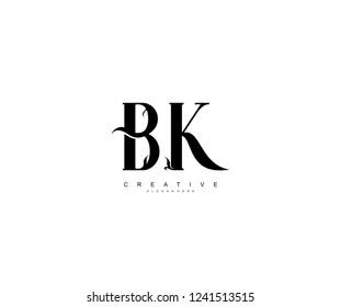 Creative Initial BK Letter Organic Plant Stylish Monogram Logotype