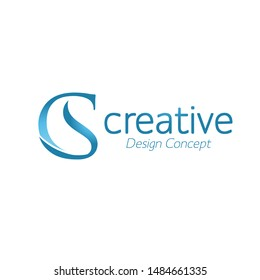 creative initial connected letters cs or sc logo monogram style