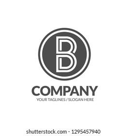 creative initial letter B flat monogram on a circle logo vector