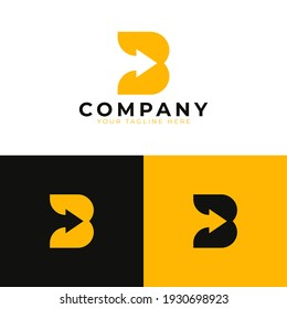 Creative Initial Letter B Logo. Yellow and Black Shape with Negative Space Right Arrow inside. Usable for Business and Branding Logos. Flat Vector Logo Design Ideas Template Element. Eps10 Vector