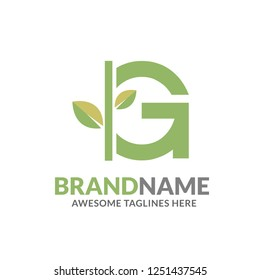 creative initial letter g with natural green leaf logo vector element