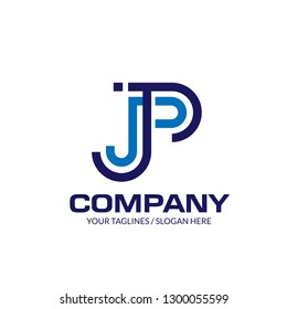 creative initial letter JP linear logo design elements