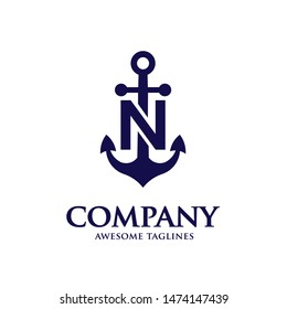 creative initial letter n with Anchor blue color logo vector concept