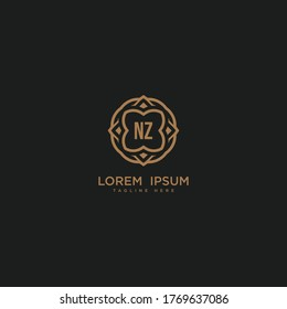 Creative initial letter NZ logo icon vector design. Luxury jewelry frame gem edge logotype. Print monogram initials stamp sign symbol.
